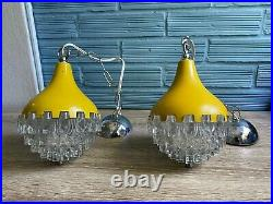 Vintage Pair of Mid Century Pendant Space Age Lamp Ceiling Atomic Design Light