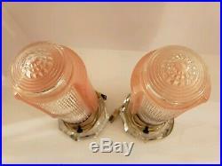 Vintage Pair of Mid Century Pink Glass Atomic Rocket Phallic Boudoir Table Lamps
