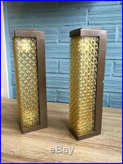 Vintage Pair of Sconce Space Age Lamp Atomic Design Light Mid Century Pop Wall