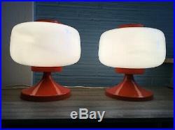 Vintage Pair of Table Space Age Orange Lamp Atomic Design Light Mid Century