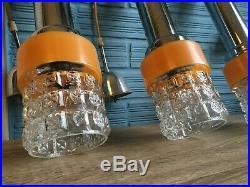 Vintage Pendant Mid Century Set of 3 Space Age Lamp Ceiling Atomic Design Light