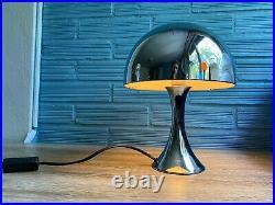 Vintage Space Age Chrome Lamp Table Atomic Design Mushroom Metal Mid Century
