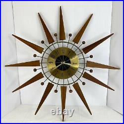 Vintage Starburst Wall Clock MID Century Modern Atomic Teak Wood Brass 25
