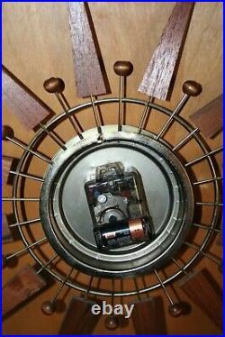 Vintage Sunburst Clock Mid Century Modern Atomic Starburst Pro Converted Battery