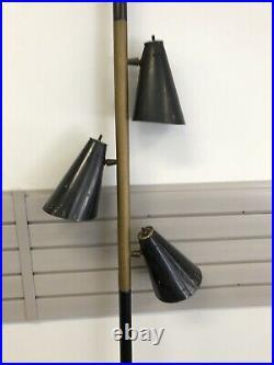Vintage TENSION POLE FLOOR LAMP mid century modern light atomic retro 50s black