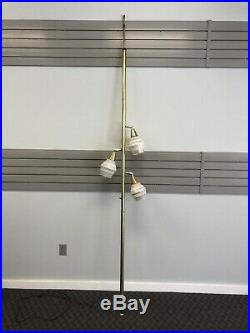 Vintage TENSION POLE FLOOR LAMP mid century modern light atomic retro gold 50s