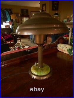 Vintage Tanker Mid Century Metal Atomic Mushroom Table Lamp 1940's 1950's Works