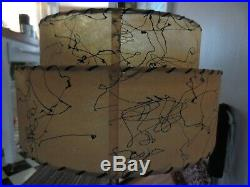 Vintage Two Tier Fiberglass Lamp Shade Mid Century Modern Atomic Whip, Stitch MCM