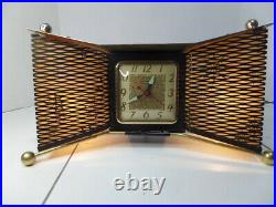 Vintage United Bowtie 340 Mid Century Atomic Lamp and Clock