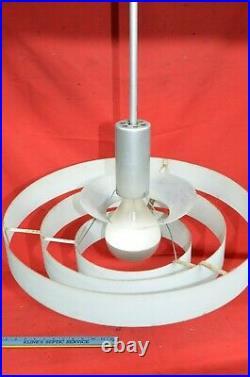 Vtg 19 Atomic Saucer Rings Ceiling Light Fixture Retro Mid Century Industrial