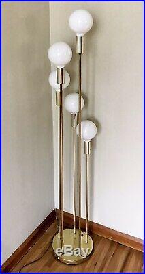 Vtg Floor Lamp 5 Globe Cascade Brass Atomic Sputnik by Clover Mid Century MCM