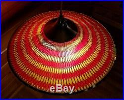 Vtg HUGE Mid Century Atomic Saucer Retro Honeycomb Moe Light Fixture Chandelier