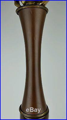 Vtg Heavy Ceramic Mid Century Modern Brutalist Atomic Lamp with Wood Base & Neck
