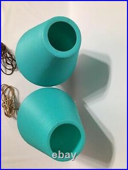 Vtg Lot Of 2 Mid Century Modern Beehive Table Lamp Tripod Legs Atomic Turquoise
