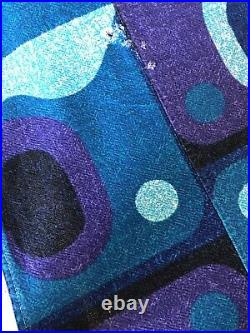 Vtg Mid Century Mod Abstract Atomic Retro Barkcloth Purple Teal Bedspread Tiki