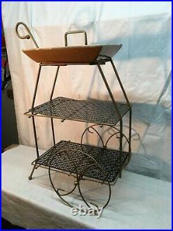 Vtg Mid Century Wire Dutch Modern Atomic 2tier Stand Flower Cart Smoking Stand