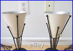 Vtg PR 50s Atomic Space Age Torch Table Lamps Orig Parchment Shades Mid Century
