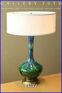 Wow! MID Century Danish Modern Blue Green Glazed Drip Lamp 50's Vtg Atomic Decor